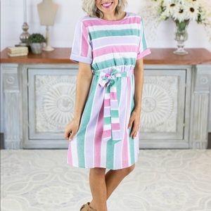 NWOT! Size Medium Stripe Tie Dress!